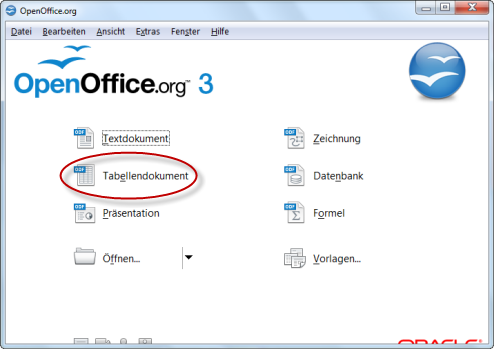 Startbildschirm OpenOffice