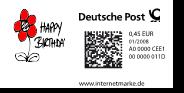 Internetbriefmarke mit DataMatrix-Code (Quelle; Wikimedia.org)