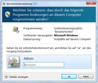 UAC-Meldung (User Account Control) in Windows 7