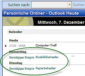 Beispiel: Müllabfuhrtermine in Outlook