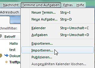 vCalendar-Datei importieren