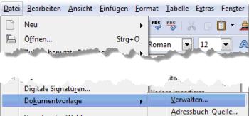 Dokumentvorlagen verwalten