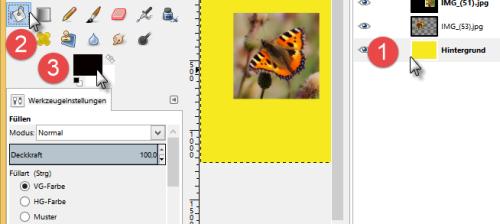 Bild 11 Füllwerkzeug auswählen (Hier ist die Hintergrundebene bereits mit dem Farbton gefüllt)